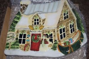Holiday Lodge Ceramic Candy Dish House Cottage Plate