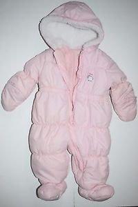 Carter's Child Of Mine Girls Pink Snowsuit 6-9 Months GUC