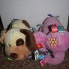Taggies Pink Elephant and Brown Dog Plush Baby Rattle Toy Tags Used