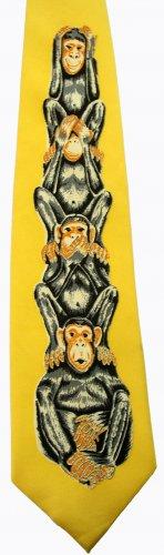Three Wise Monkeys Mystic Apes Chimpanzee See Hear Speak No Evil Cartoon Fancy Novelty Neck Tie
