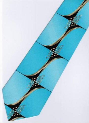 201207 Blue Black Yellow Novelty Neck Tie