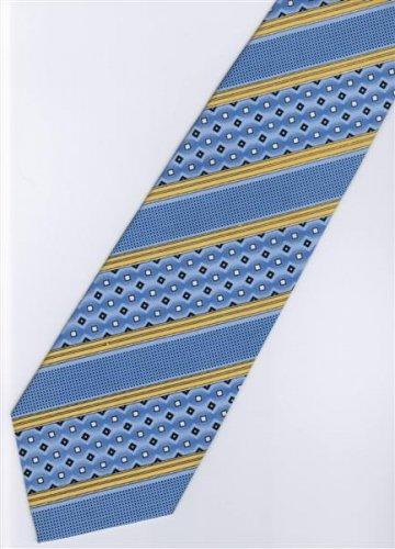 201211 Blue Yellow White Stripe Neck Tie