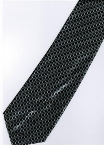 201219 Black Grey White Stripe Neck Tie