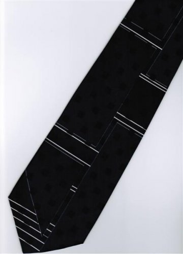 201232 Black White Novelty Neck Tie