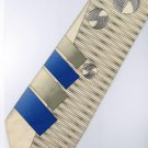 201236 Beige Blue Grey Novelty Neck Tie