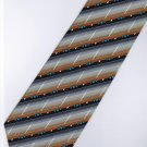 201237 Black Grey Orange White Blue Stripe Neck Tie