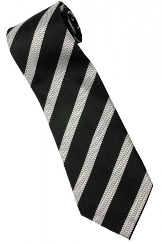 EB1 Black Silver Stripe Neck Tie