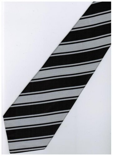 EB7 Black Silver Stripe Neck Tie
