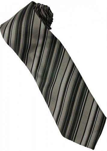 ES3 Silver Black Stripe Neck Tie