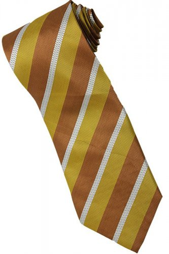 EBR1 Gold Brown White Stripe Neck Tie