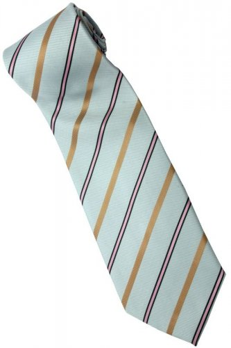 ELB9 Sky Blue Gold Pink Black Stripe Neck Tie