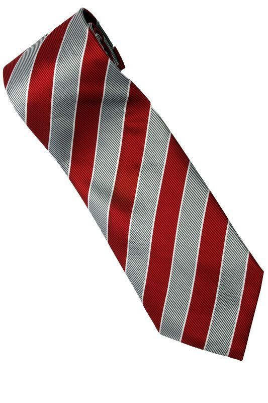 ER1 Red Black White Stripe Neck Tie