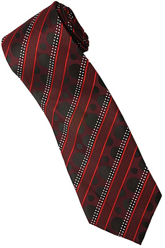 ER5 Red Black White Stripe Neck Tie