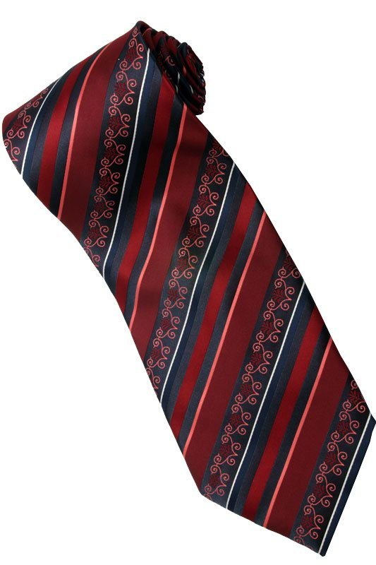 ER6 Red Black Batik Stripe Neck Tie