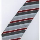 ER19 Red Silver Black White Stripe Neck Tie