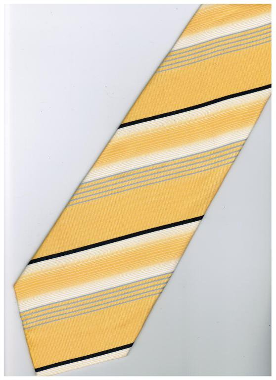 EY3 Yellow Black White Silver Stripe Neck Tie