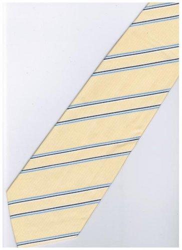 EY4 Yellow Blue Black White Stripe Neck Tie