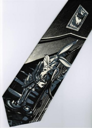 Bugs Bunny Looney Tunes Standing on Stair Cartoon Fancy Novelty Neck Tie