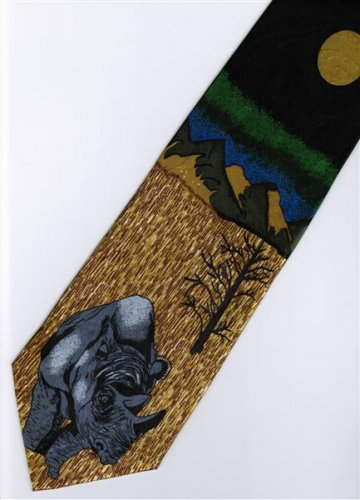 Rhino Mammal Animal Fancy Novelty Neck Tie
