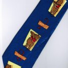 Winnie the Pooh Bear Disney Exercise 123 Blue Cartoon Neck Tie