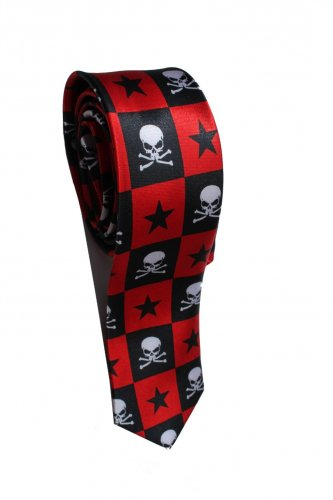 Pirates Jolly Roger Skull Halloween Radiation Star Red Slim Novelty Neck Tie