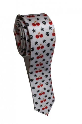 Pac Man Strawberry Fruit Star Skull WHITE Slim Novelty Neck Tie