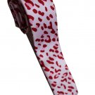 Leopard Spots Red Pink White Slim Novelty Neck Tie