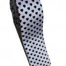 Love Shape Black White Slim Novelty Neck Tie