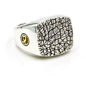 David Yurman Naturals Men's Rhino Ring in 925 Sterling Silver & 18k Gold Size 10
