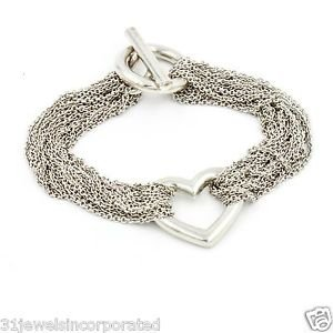 Tiffany & Co. Heart Multi Strand Toggle Bracelet in 925 Sterling Silver 7.5""