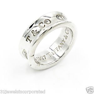 Tiffany & Co. 1837 7mm Band Ring in 925 Sterling Silver Size 4.75
