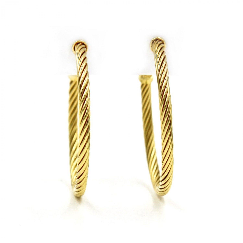 David Yurman Cable Classics 18k Yellow Gold 40mm Medium Hoop Earrings