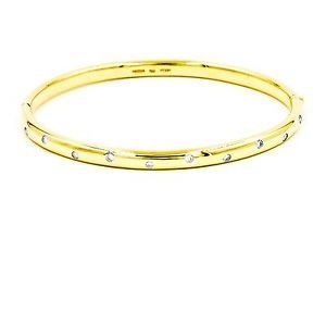 "Tiffany & Co. Etoile 10 Diamond Bangle Bracelet 18k Gold & Platinum Length 6.5"""