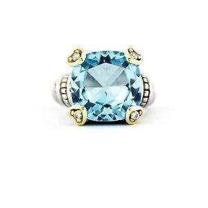 Judith Ripka Blue Quartz Heart Diamond Prongs Ring 18k Gold 925 Silver Size 4.5