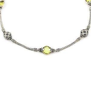 John Hardy Green Amethyst Jaisalmer Station Necklace18k Gold 925 Sterling Silver