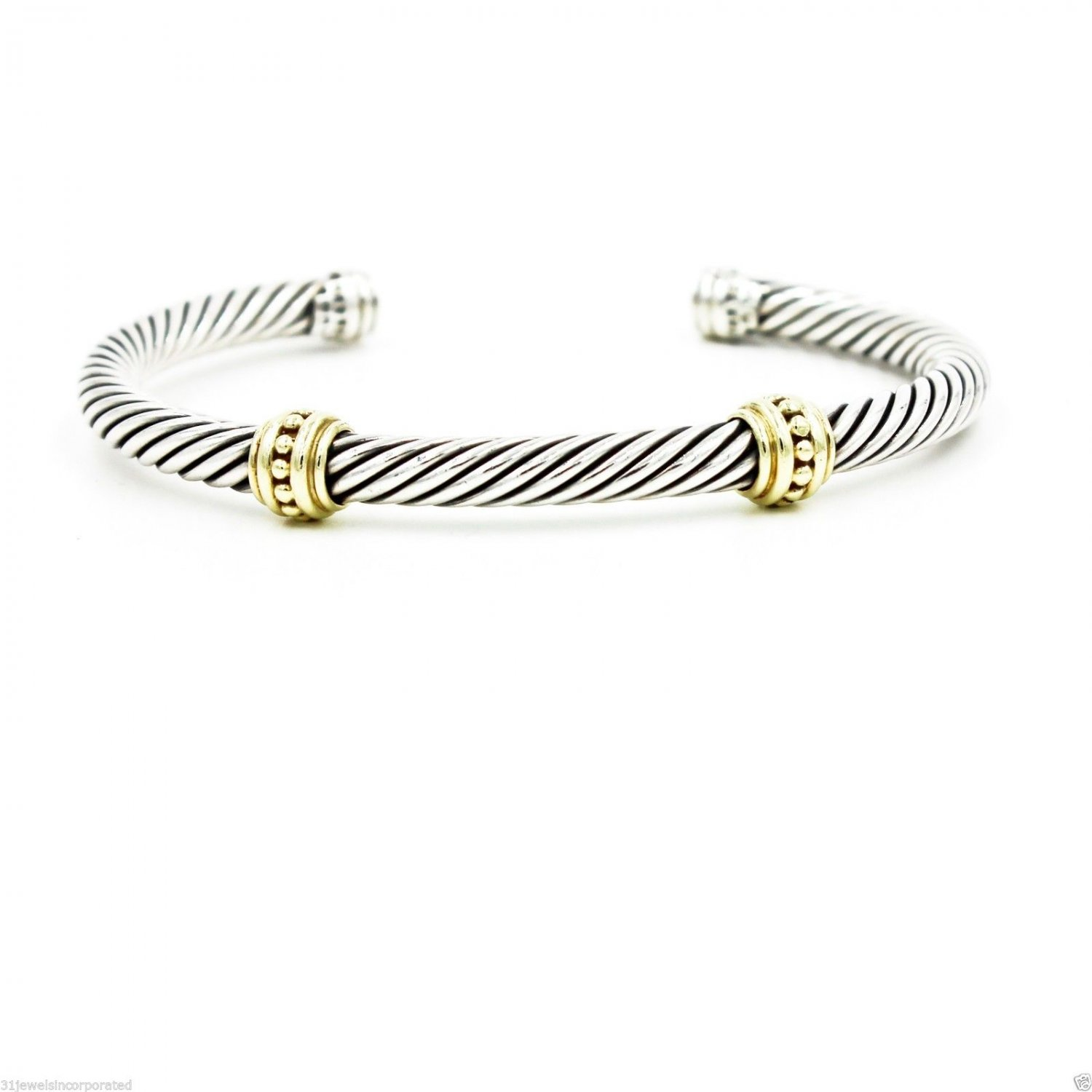 David Yurman Two-Station Cable Classics Bangle in 14k Gold Sterling Silver