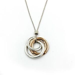 """Tiffany & Co 1837 Interlocking Circles Necklace in Sterling Silver & Rubedo 18"""""""