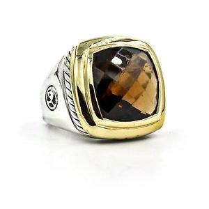 David Yurman 14mm Faceted Smoky Quartz Albion Sterling Silver Gold Ring Size 6