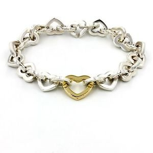 Tiffany & Co. Heart Link Bracelet in 925 Sterling Silver and 18k Gold, 7.75""