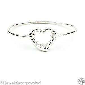 """Tiffany & Co. Elsa Peretti Open Heart Bangle Sterling Silver with Diamond, 6.25"""""""