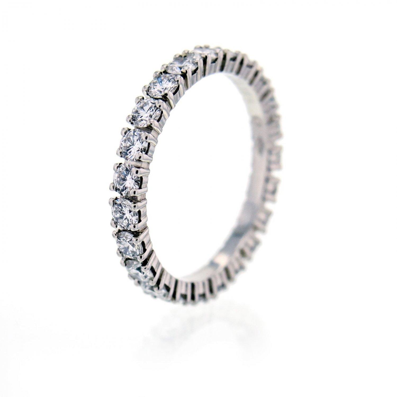 Cartier Eternity Ring 1.60ct Diamond Platinum Wedding Band, Size 7 with Box
