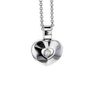 "Chopard Happy Diamond Heart Pendant on 16"" Chain in 18k White Gold"