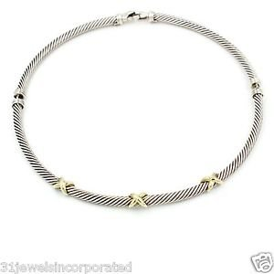 David Yurman Cable Classics X Choker Necklace Sterling Silver & 14k Gold, 15.5""