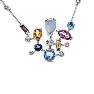 "Cartier Meli Melo Necklace White Gold Diamond Moonstone Tourmaline Iolite 18"""