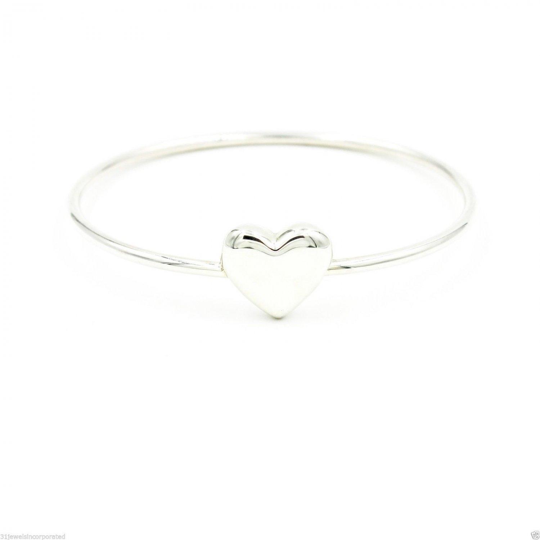 "Tiffany & Co. Heart Wire Bangle Bracelet in 925 Sterling Silver, Length 7"""