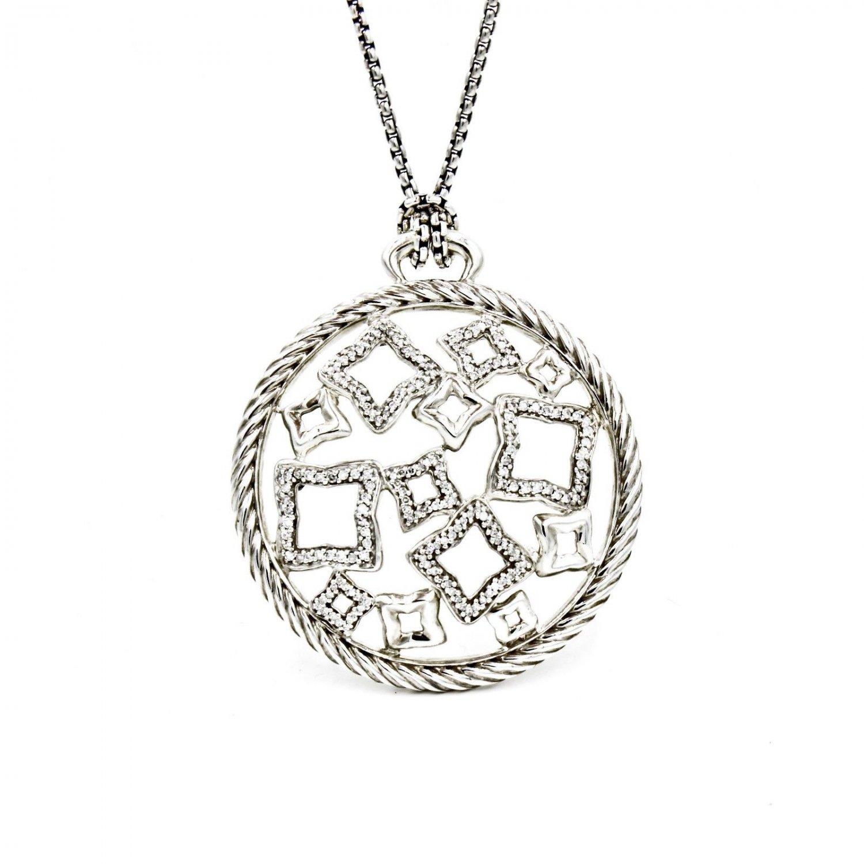 "David Yurman XL Quatrefoil Pendant Necklace in Sterling Silver with Diamonds 16"""