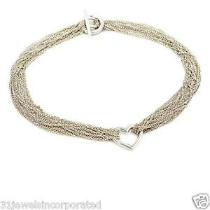 """Tiffany & Co. Multi Strand Heart Necklace in 925 Sterling Silver, 18"""""""