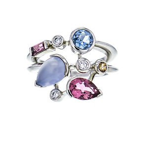 Cartier Meli Melo Ring Platinum Diamond Aquamarine Chalcedony Tourmaline Size 6