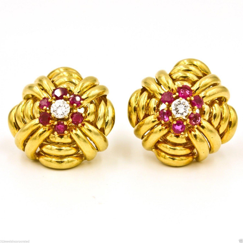 Vintage Tiffany & Co. Diamond & Rubies in 18k Yellow Gold Earrings Circa 1940s