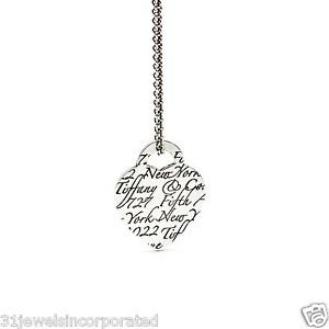 """Tiffany & Co. Notes Heart Pendant on 16"""" Tiffany Chain in 925 Sterling Silver"""